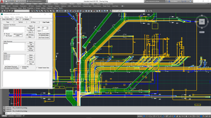 Image depicting a direct screen shot from the TrayMatic Raceway Design software showcasing placed equipment with automatically created cable tray, duct bank, and above ground conduit complete with cross sections and annotations.